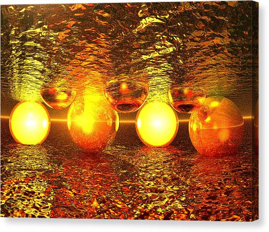 Fire Ball Canvas Print - Strange Encounter On The Sea by Erik Tanghe