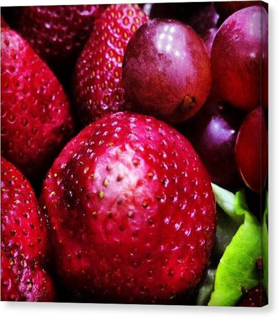 Grapes Canvas Print - Strawberries And Grapes... Fresas Y by Ricardo Fuenmayor