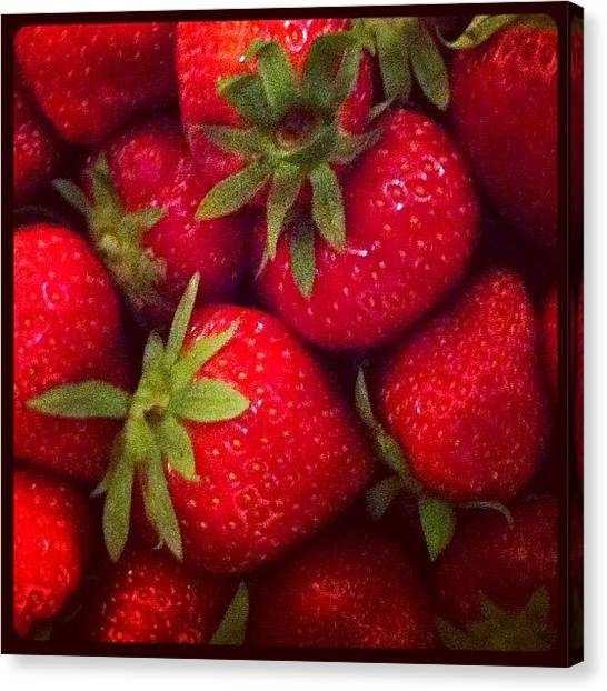 Strawberries Canvas Print - #strawberry #fruit #photo On #instagram by Pixie Copley