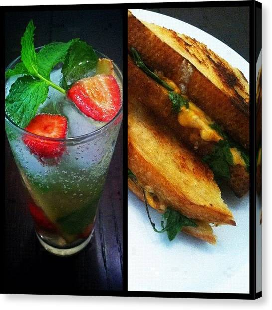 Sandwich Canvas Print - Strawberry, Mint, & Infused Sparkling by Loghan Call