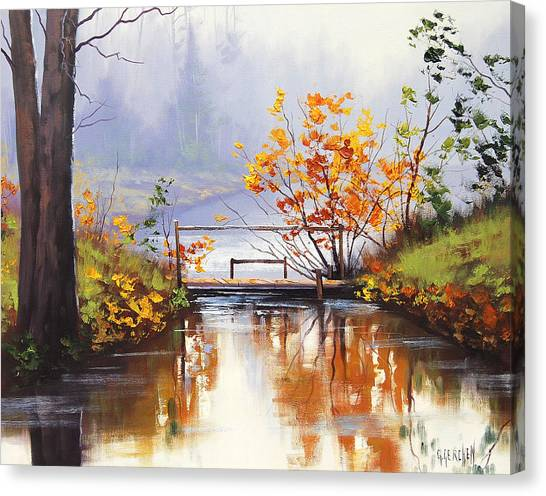 Red Maple Tree Canvas Print - Stream Crossing by Graham Gercken