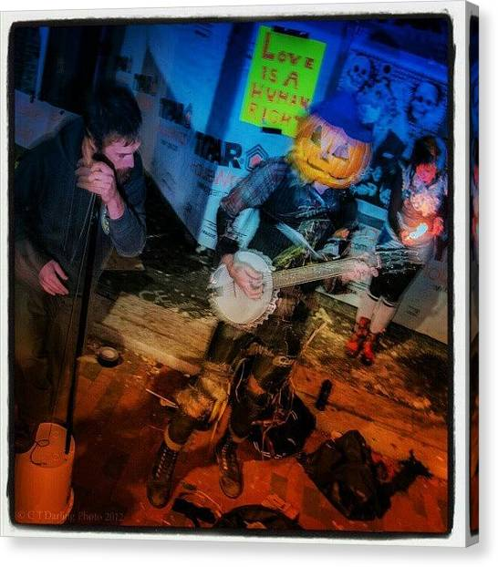 Banjos Canvas Print - Street Arts First Friday Buskers W Fire by Chris T Darling