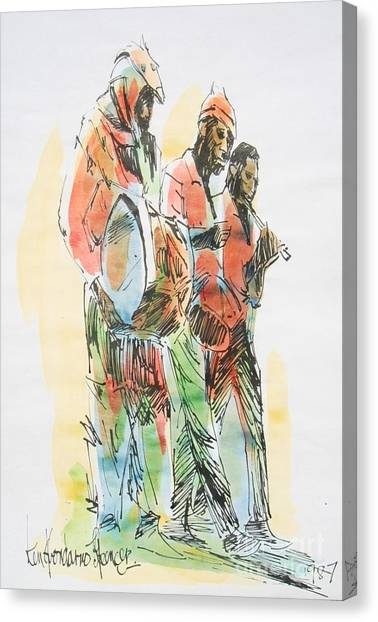 Jamaican Canvas Print - Street Band by Carey Chen