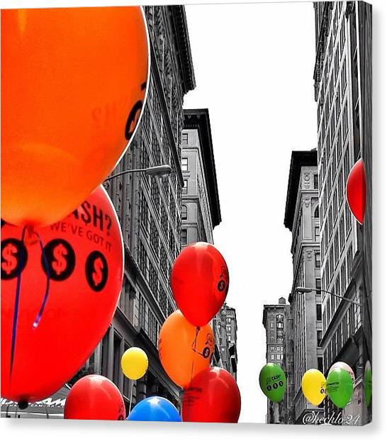Balloons Canvas Print - Street Fair  #balloons #colors #nyc by Hector Lopez ✨
