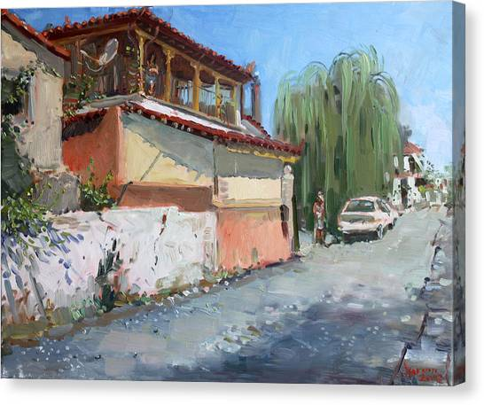 Greek Art Canvas Print - Street In A Greek Village by Ylli Haruni