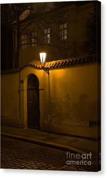 Street In Prague By Night Canvas Print