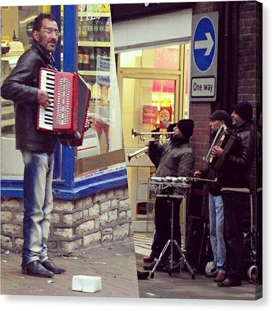 Music Canvas Print - #street #musicians In #oswestry #wales by Alexandra Cook