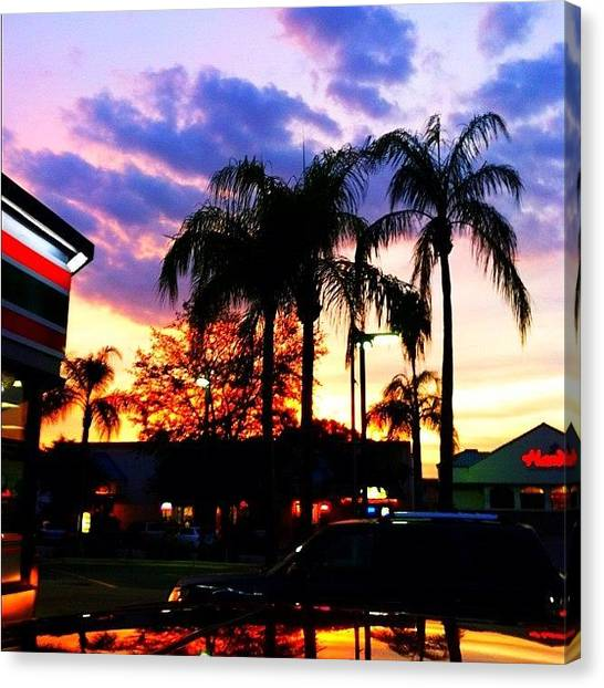 Palm Trees Sunsets Canvas Print - #streetphotography #iphoneography by Dylan Hotfire