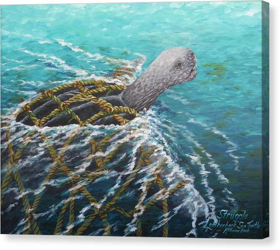 Struggle -leatherback Sea Turtle Canvas Print