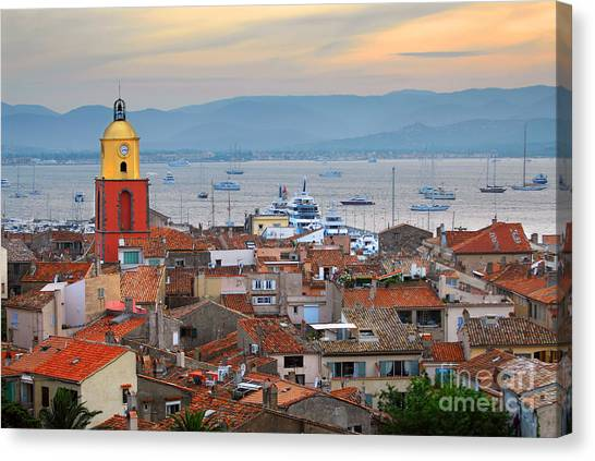 Southern France Canvas Print - Saint-tropez At Sunset by Elena Elisseeva