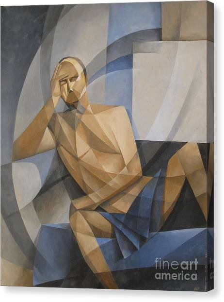 Study In Blue And Ochre Canvas Print