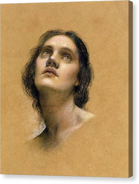 Chin Canvas Print - Study Of A Head by Evelyn De Morgan