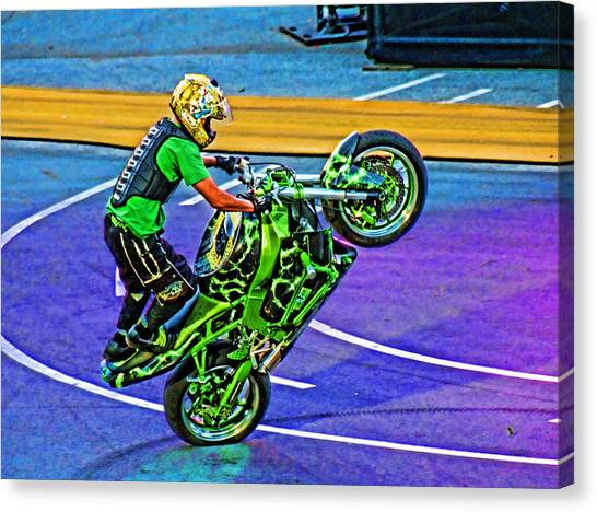 Dirt Bikes Canvas Print - Stunting 1 by Lawrence Christopher