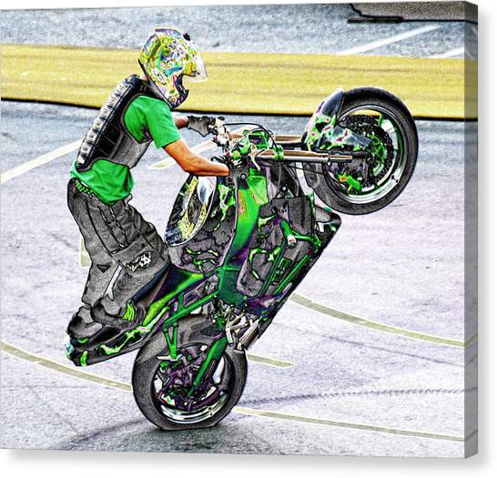 Dirt Bikes Canvas Print - Stunting 3 by Lawrence Christopher