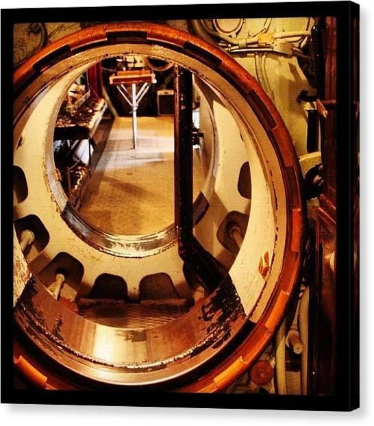 Submarine Canvas Print - Submarine Gangway #submarine #sweden by Phil Manassa