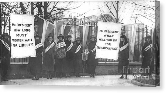 Womens Rights Canvas Print - Suffragettes Picket The White House by Padre Art
