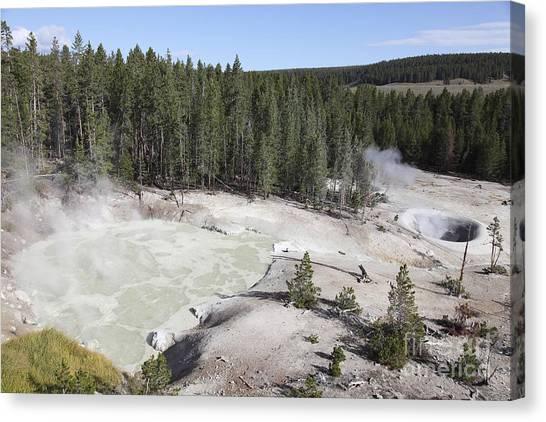 Yellowstone Caldera Canvas Print - Sulphur Cauldron Hot Spring by Richard Roscoe