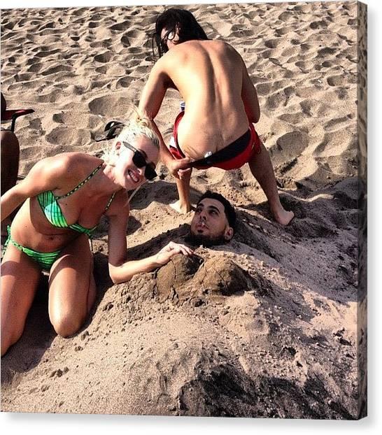 Bikini Canvas Print - Summer Fun! Lol Burried Alive by Erika Hyndman
