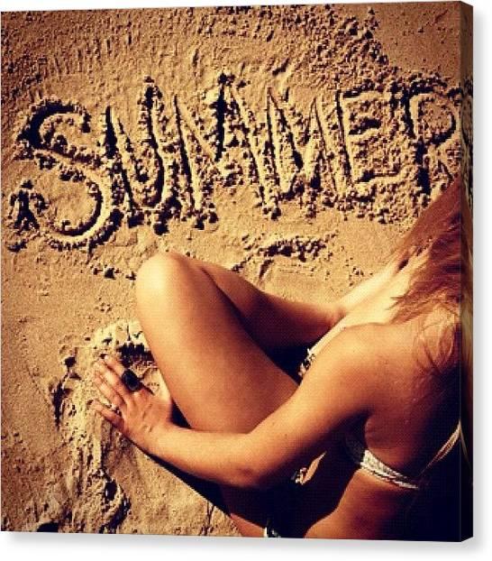 Legs Canvas Print - #summer #sand #beach #blonde #girl by Isidora Leyton