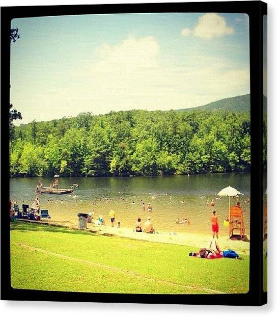 Swimming Canvas Print - Summer Scene by Lori Lynn Gager