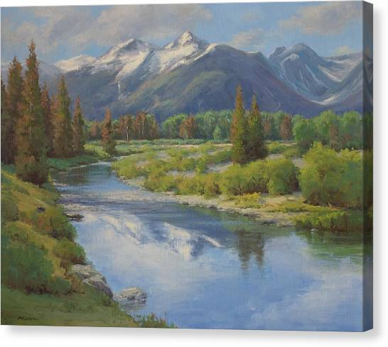 Summer Snow Capped Mountains Painting By Marianne Kuhn