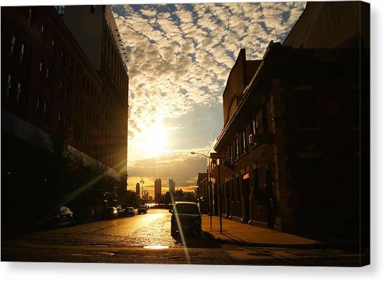 City Sunsets Canvas Print - Summer Sunset Over A Cobblestone Street - New York City by Vivienne Gucwa