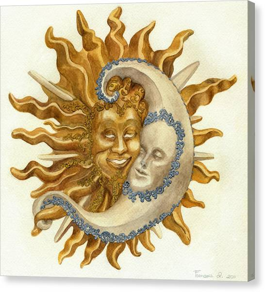Sun And Moon Mask Painting by Francesca Zambon
