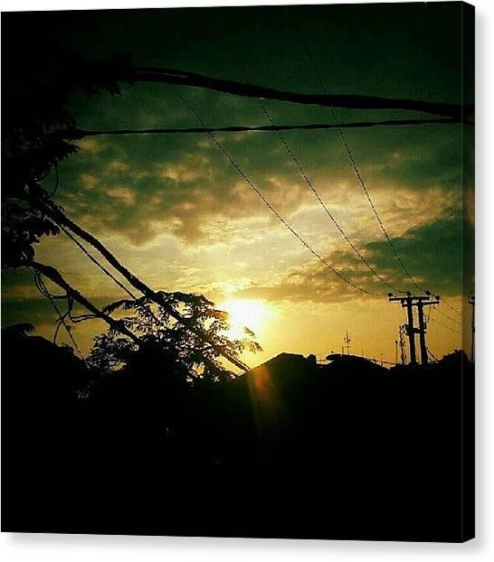 Shakira Canvas Print - #sun #cloud #tree #house #pole by Inas Shakira