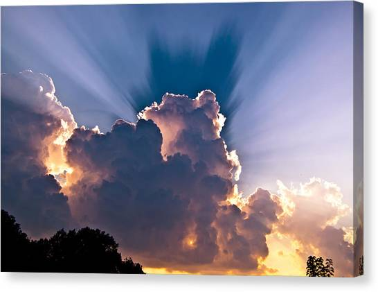 Sun Rays And Clouds Canvas Print