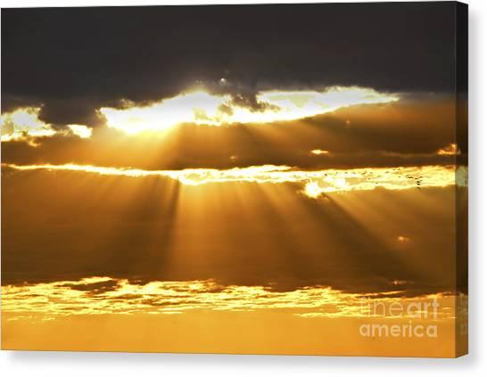 Sun Set Canvas Print - Sun Rays At Sunset Sky by Elena Elisseeva