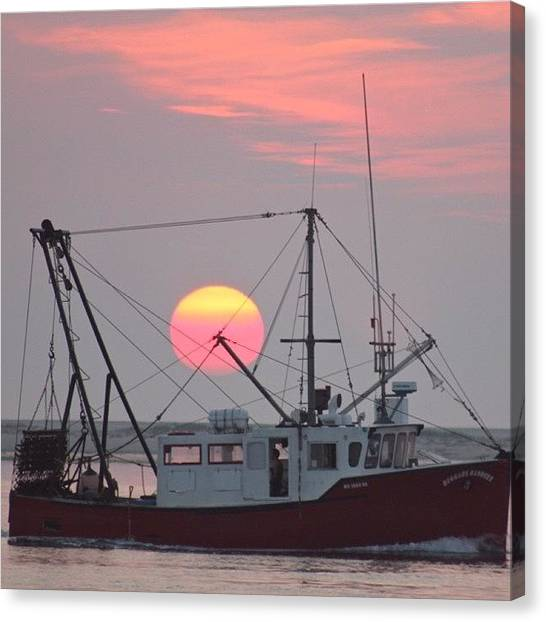 Fishing Boats Canvas Print - Sun Rises On A Fishing Boat by Justin Connor