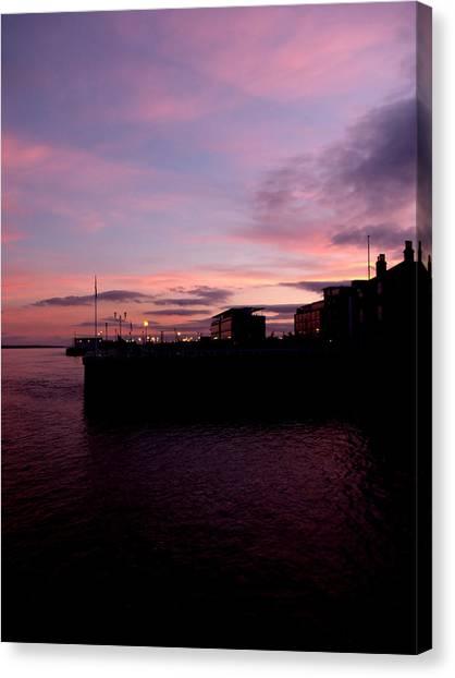 Sun Setting On Hull Marina Canvas Print