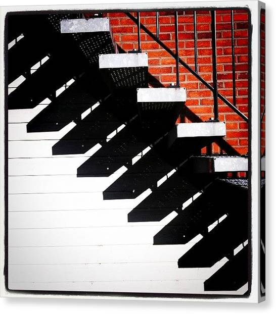 Sun Canvas Print - #sun #stairs #shadow #lines by Robbert Ter Weijden