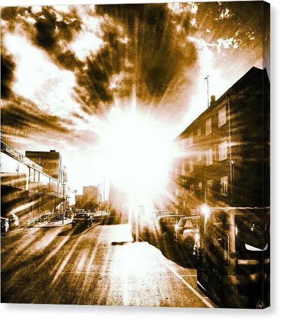 Back Canvas Print - #sun #stillsummer #warm #clouds #car by Ole Back