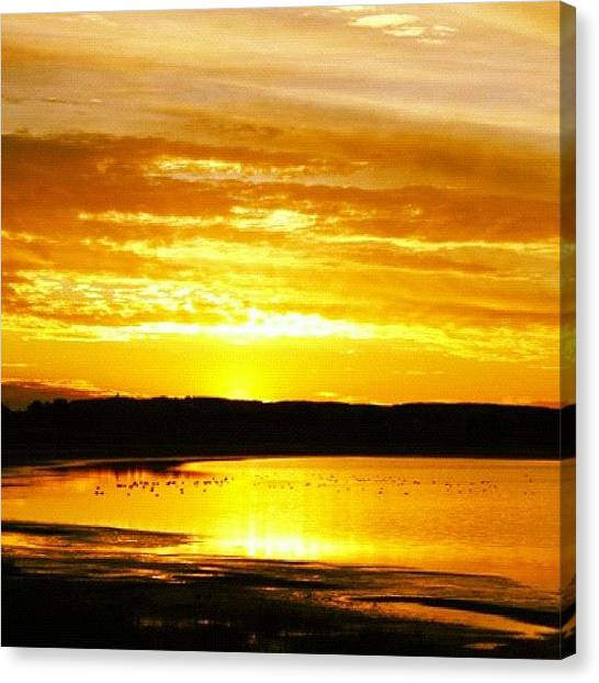 Lake Sunsets Canvas Print - #sun #sunset #sunsets #canada #lakes by E  Marrero
