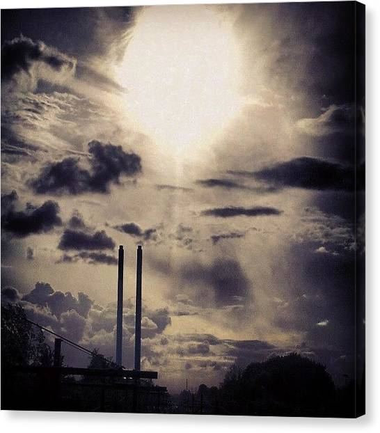 Back Canvas Print - #sun #sunset #train #today #summer by Ole Back