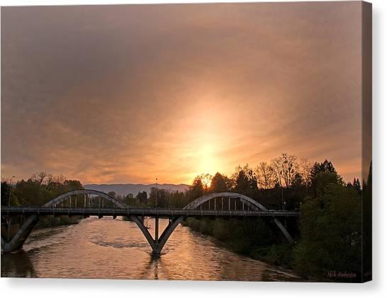 Sunburst Sunset Over Caveman Bridge Canvas Print