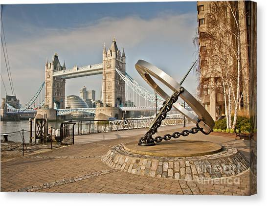 Sundial At Tower Bridge Canvas Print by Donald Davis