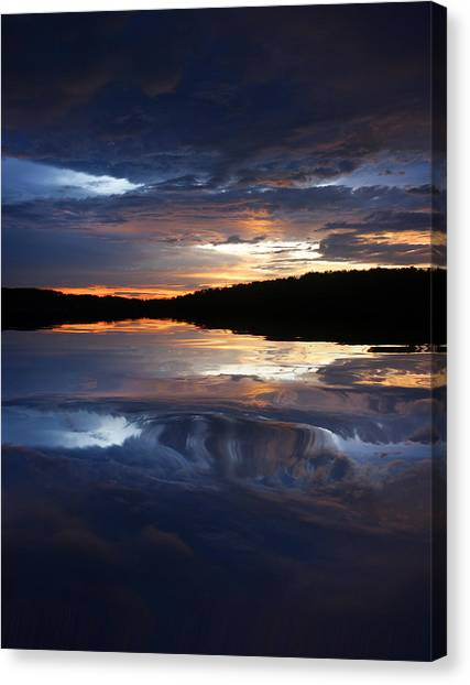 Sundown At Lake Canvas Print