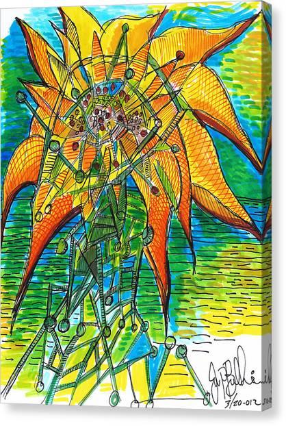 Sunflower Construction Canvas Print by Jon Baldwin  Art