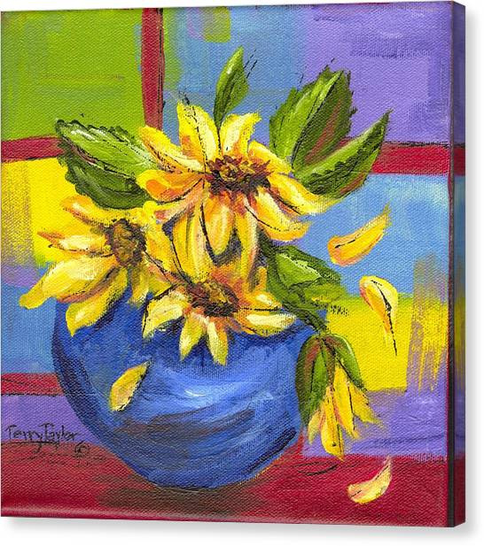 Sunflowers In A Blue Bowl Canvas Print
