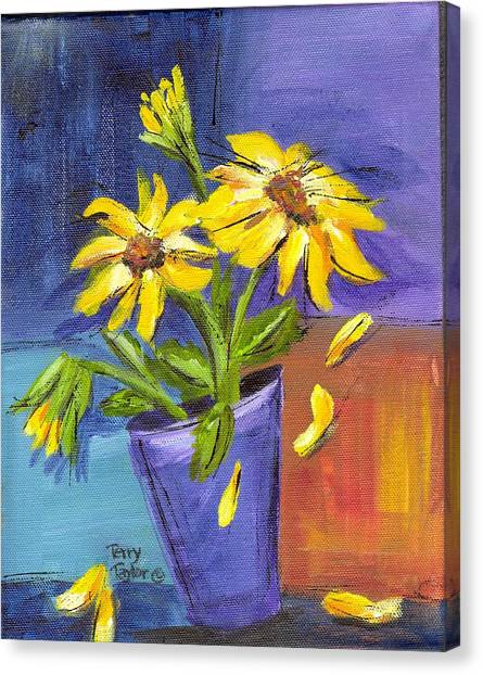 Sunflowers In A Blue Pot Canvas Print