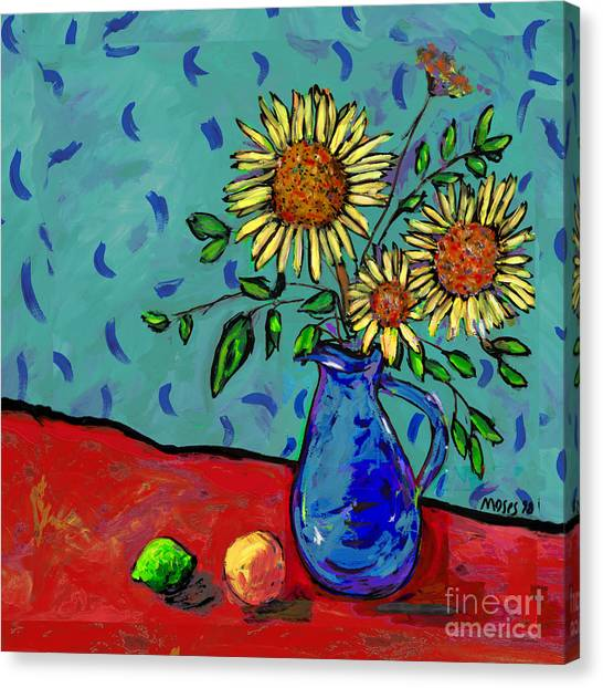 Sunflowers In A Milk Pitcher Canvas Print