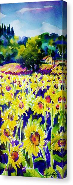 Sunflowers Of Tuscany  Sold Original Prints Available Canvas Print by Therese Fowler-Bailey