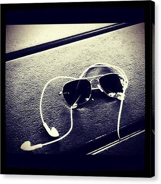 Headphones Canvas Print - #sunglasses #and #headphones #earphones by Josue Garcia