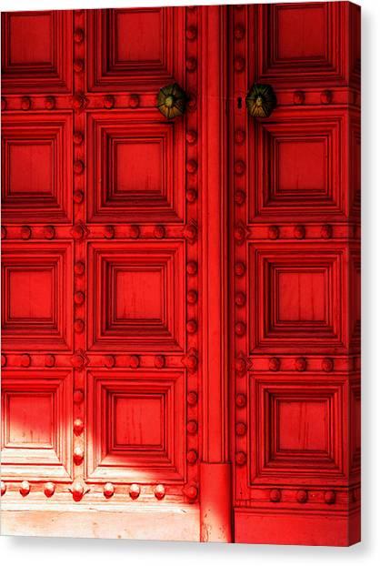 Sunlight On The Red Door Canvas Print