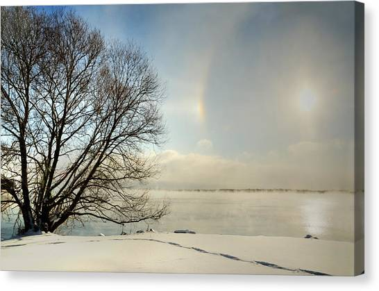 Sunlight Refracted In Hexagonal Ice Crystals Canvas Print by Gail Shotlander