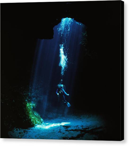 Underwater Caves Canvas Print - Sunlight Streams Into The Blue Hole by Wes C. Skiles