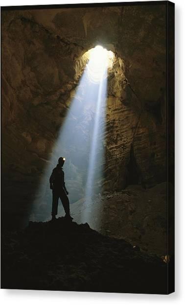 Spelunking Canvas Print - Sunlight Streams Through The 518-foot by Stephen Alvarez