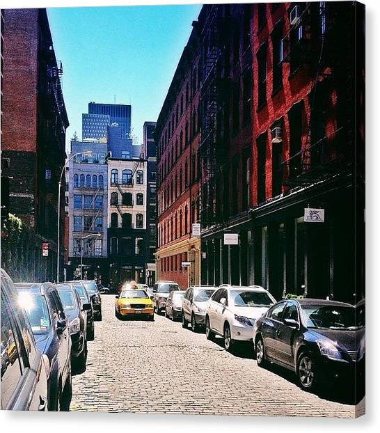 Times Square Canvas Print - Sunlit Soho Street - New York City by Vivienne Gucwa